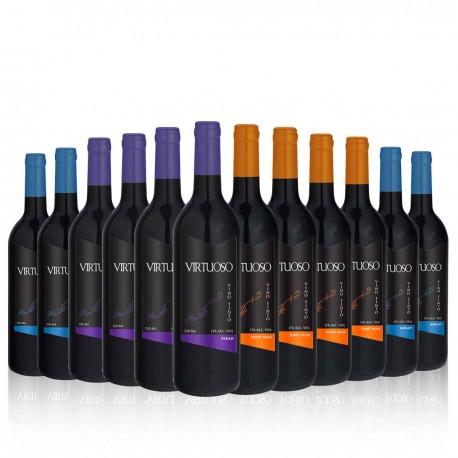 VIRTUOSO SPANISH WINE  SELECTION OF 12 BOTTLES. 4 MERLOT, 4 SYRAH AND 4 PINOT NOIR