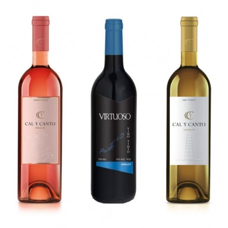 12 BOTTLES SPANISH WINE. 8 AWARD WINE O.D. TIERRA DE CASTILLA WHITE AND ROSÉ + 4 VIRTUOSO MERLOT RED WINE.